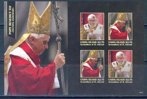 UNION ISLAND POPE BENEDICT XVI  5th PAPAL ANNIVERSARY SHEET I  IMPERF  MINT NH