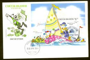 CAICOS ISLANDS 1984 $2.20 DISNEY EASTER Souvenir Sheet Sc 46 FDC