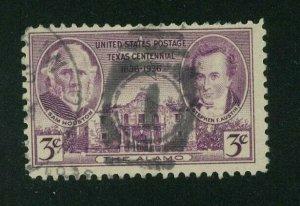 US 1936 3c purple Texas Centennial, Scott 776 used, Value = 25c