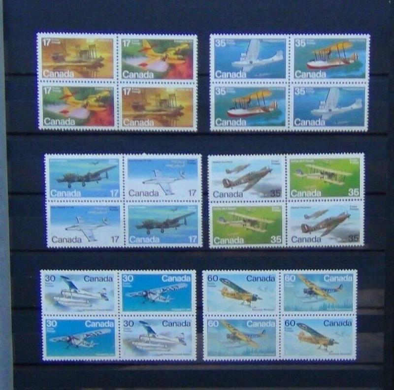 Canada 1979 Aircraft in Blocks x 4 1st 2nd & 3rd Series MNH