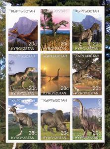 Kyrgyzstan 2000 Dinosaurs-Prehistoric Animals Sheetlet (9) Imperforated MNH VF