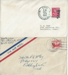 US Naval Cover USS Worcester  CL 144 1948, 1951 Sailor's Mail
