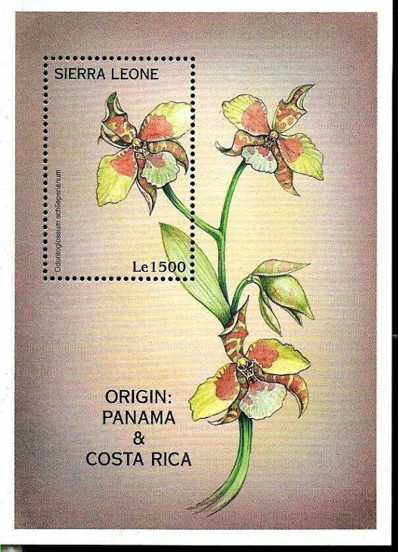 #8219 SIERRA LEONE 1997 FLORA FLOWERS ORCHIDS S/SHEET YV BL376 MNH