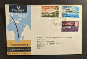 1962 Salisbury South Rhodesia First Flight Commemorative Cover to London England