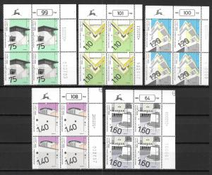 Israel 1044-8 1990-2 Architecture set Plate Block MNH