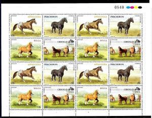 URUGUAY 2006 FAUNA,HORSES ,FULL MINISHEET, YV 2274-7 MNH CV 48 EURO