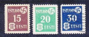 Estonia N3-N5 Mint OG & Used 1941 German Occupation Arms & Swastika Set