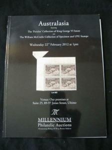 MILLENIUM AUCTION CATALOGUE 2012 AUSTRALASIA GEORGE VI 'PERICLES' & SPECIMEN UPU