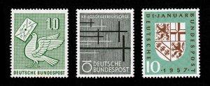 GERMANY DEUTSCHE BUNDESPOST SCOTT #752-754 MNH-OG 1957