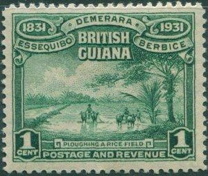 British Guiana 1931 SG283 1c green Ploughing Rice Field MLH
