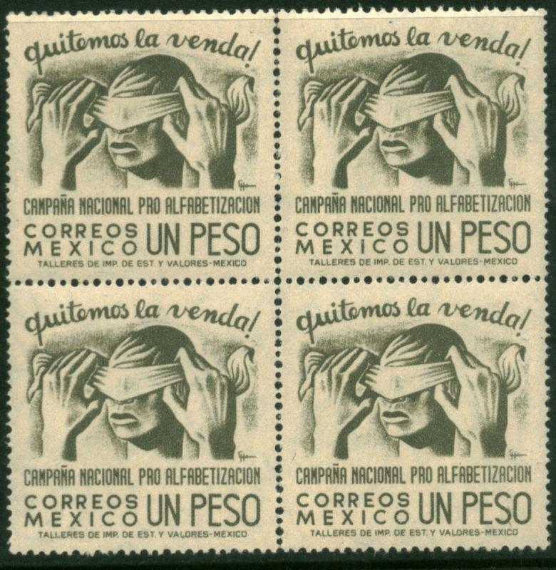 MEXICO 809, 1Peso Blindfold, Literacy Camp Block 4 MNH (153)