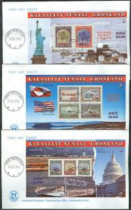 GREENLAND #293-5 Complete set of Souvenir Sheets FDC's