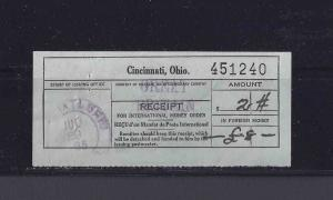 1935 P.O. RECEIPT FOR INTERNATIONAL MONEY ORDER