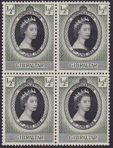GIBRALTAR 1953 Coronation block of 4 MNH..................................68843M