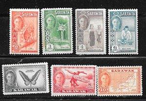 Sarawak #180-186 (MNH )  CV $7.55