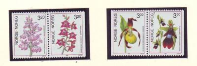 Norway Sc 970-3 1990 Orchids stamp mint NH