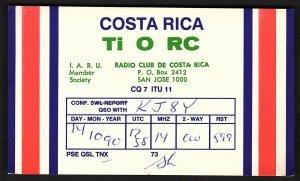 QSL QSO RADIO CARD Ti 0 RC,1990,Radio Club De Costa Rica, San Jose (Q2672)