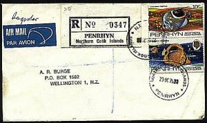 PENRHYN COOK IS 1979 registered cover to New Zealand.......................93744