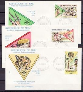 Mali, Scott cat. 425-427. 4th Scout Conference issue. 3 First day covers.
