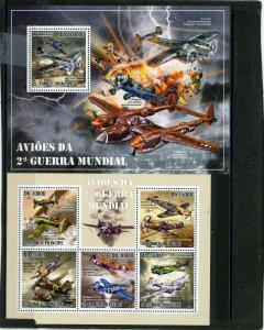 ST.THOMAS & PRINCE ISLANDS 2010 MILITARY AVIATION SHEET OF 5 STAMPS & S/S MNH