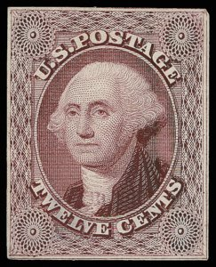 U.S. #17-E2 die on India of almost complete design, cut close; small thin, VF