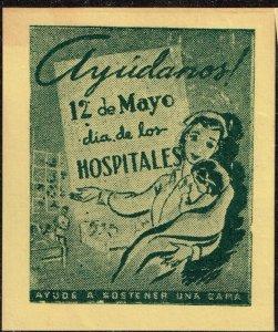 CUBA STAMP VIÑETAS CINDERELLA. 1950  HOSPITAL  MEDICINE NURSE MNH LOT #5