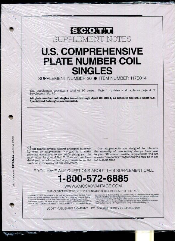 Scott Comprehensive Plate Number Coil Singles Supplement 26 Item # 117S014 2014
