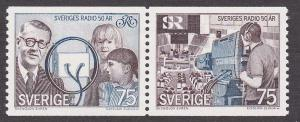 Sweden # 1107a, Swedish Broadcasting 50th Anniversary, NH, 1/2 Cat.