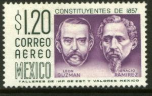 MEXICO C237 $1.20 1950 Def 8th Issue Fosforescent coated MNH