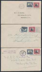 #620-621 (3) DIFF. CITIES CANCEL FDC CV $150 BR6219