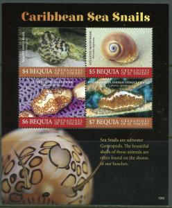 BEQUIA  2019 SEA SNAILS OF THE CARIBBEAN  SHEET MINT NEVER HINGED