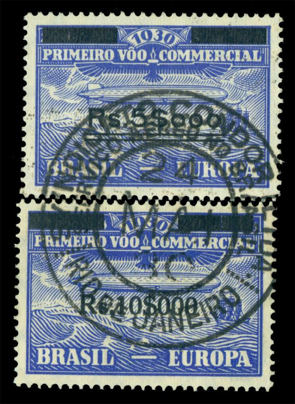 BRAZIL 1930 AIRMAIL - Graf Zeppelin surch. set Sc# 4CL4-5 used 24 May cancel
