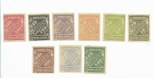BRAZIL YEAR 1889 SCOTT P10/ 18 MICHEL 76/84 MINT HINGED VF NEWSPAPER STAMP SET