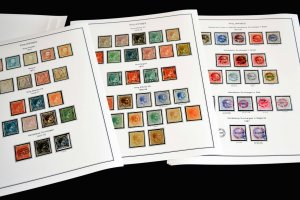 COLOR PRINTED PHILIPPINES [SP.] 1854-1898 STAMP ALBUM PAGES (11 illust. pages)