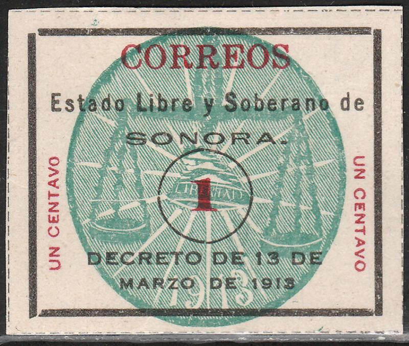 MEXICO 341, 1c SONORA GREEN SEAL. UNUSED, NG (AS ISSUED). F-VF.