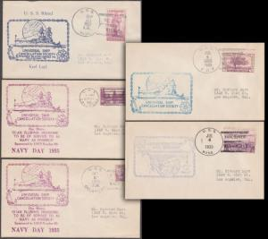 (5) DIFFERENT NAVY SHIP CANCEL SOCIETY COVERS BL3028