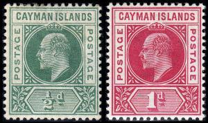 Cayman Islands Scott 3-4 (1902-03) Mint H F-VF, CV $17.50 B