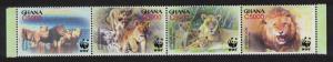 Ghana WWF African Lion Strip of 4v SG#3432-3435 SC#2433 a-d MI#3701-3704