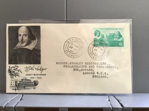 William Shakespeare Birthday   1964 Stanley Gibbons St Lucia stamp cover R29316