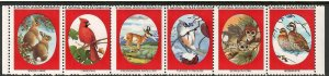 National Wildlife Federation Strip of 6 Diff 1977 Wildlife Stamps  I Combine S/H