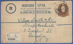 P452 -  NEW ZEALAND 1925 4d KGV Used Reg. Envelope SUMNER to Dunedin, H&G C11b