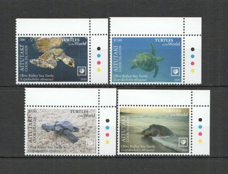 R0179 2020 AITUTAKI SEA TURTLES OF THE WORLD MARINE LIFE REPTILES FAUNA SET MNH