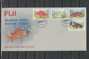 Fiji, Scott cat. 536-539. Shallow Water Fish issue. First day cover.