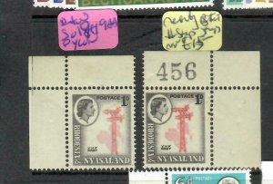 RHODESIA & NYASALAND (P0806B)  QEII   1D REENTRY  SG 19A & 19AA   MNH