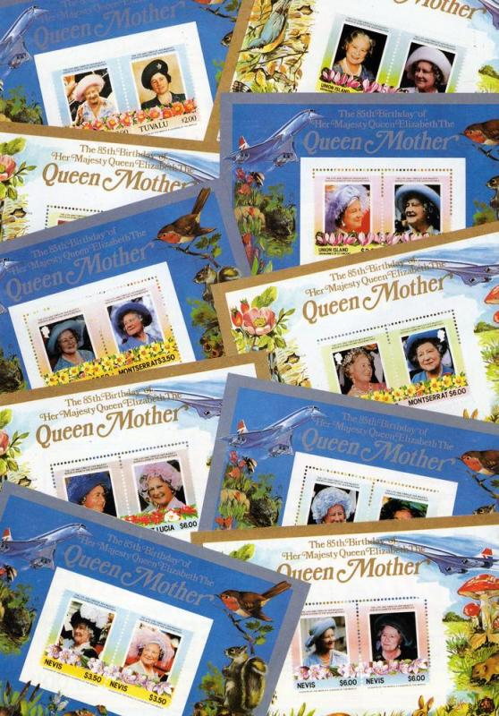 85th.Birthday of the Queen Mother/Concorde/Fungi SS (34) Perforated MNH VF