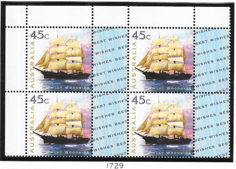 Australia #1729  45c Maritime Heritage block of 4 (MNH) CV $3.60