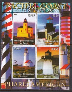Congo, Sc Unk (19-3), MNG, 2004, Pacific Coast Lighthouses