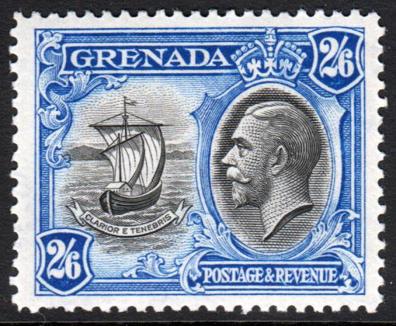 Grenada KGV 1934 2/6 2s6d Black Ultramarine SG143 Mint Lightly Hinged
