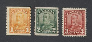 3x Canada Mint stamps # 151-3c MH #160-1c MH #161-2c MNG Guide Value= $75.00