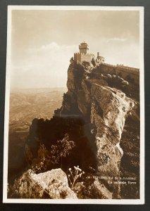 1938 San Marino RPPC Postcard Cover To Basel Switzerland Second Tower